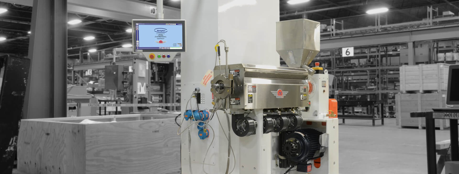 XC navigator on an extrusion machine showing the easy controls