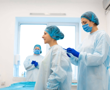 Medical personnel shown in full scrubs for healthcare extrusion market