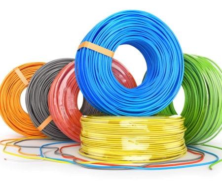 Blue, yellow, red, gray, orange and green rubber wires
